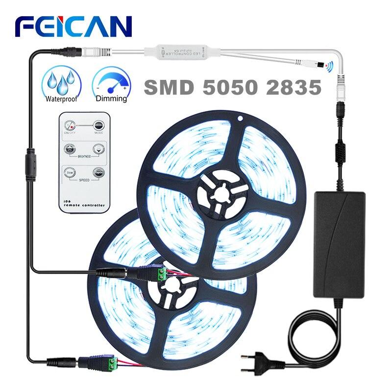 Tira conduzida 5050 2835 branco tira de luz led remoto regulável impermeável quente/frio branco 5m 10m 15m luzes led 12v fita conjunto completo