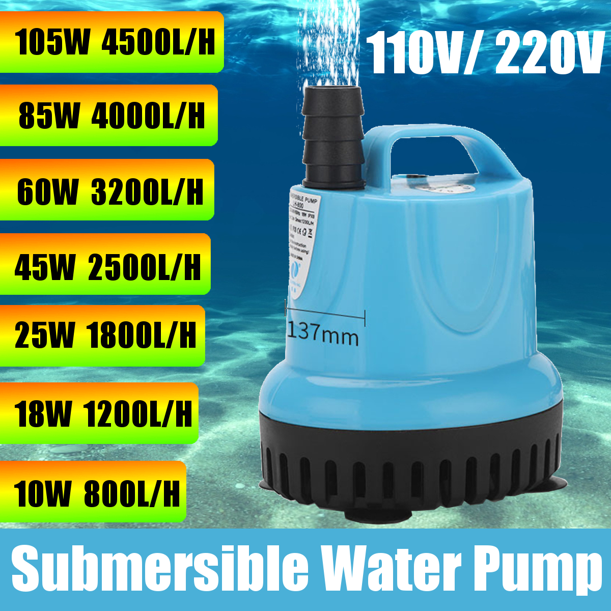 10/18/25/45/60/85/105W Dompelpomp 800-4500L/H 220V Aquarium Fish Pond Tank Uitloop Marin Temperatuurregeling Schoon