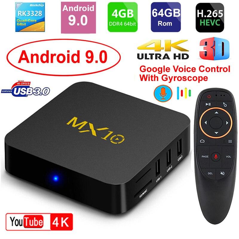 Boîtier TV intelligent MX10 Android 9.0 Rockchip RK3328 DDR4 4GB Ram 64GB Rom IPTV décodeur intelligent 4K USB 3.0 HDR H.265 boîtier lecteur multimédia