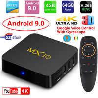 MX10 Smart TV BOX z systemem Android 9.0 Rockchip RK3328 DDR4 4GB pamięci Ram 64GB Rom IPTV inteligentny zestaw-top box 4K USB 3.0 HDR H.265 odtwarzacz multimedialny