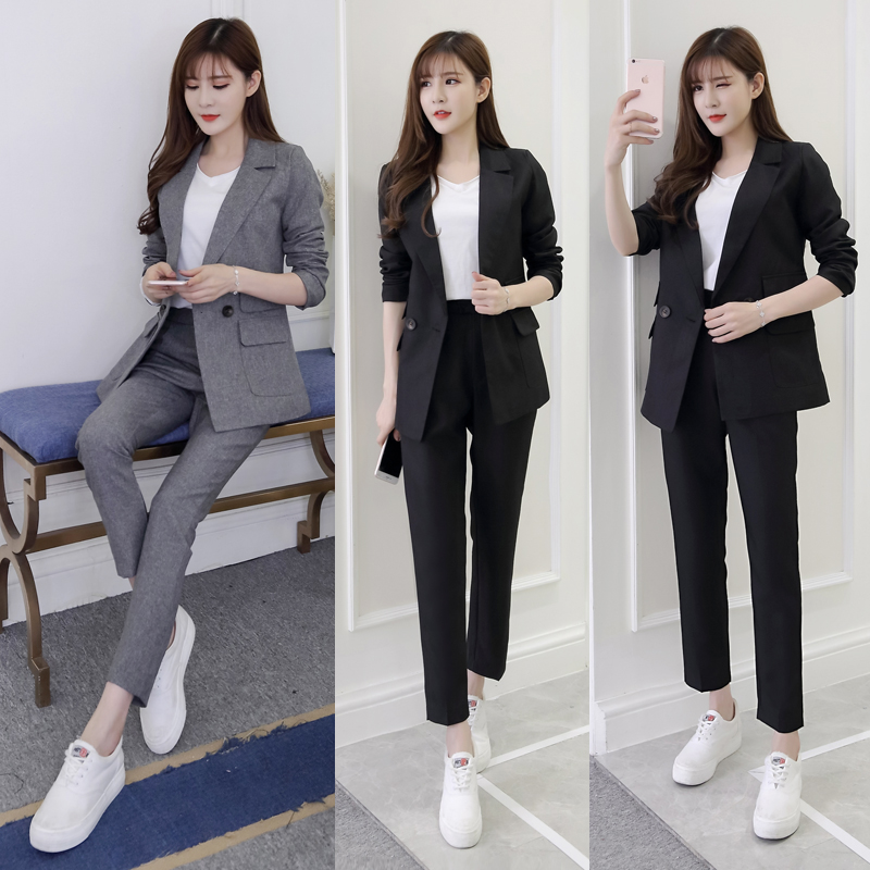 Professional Suit Female Spring And Autumn New Korean Fashion Trend Of The Slim Slim Professional Two-piece Women's Pant Suits