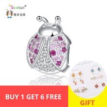 StrollGirl 100%925 sterlingsilver animal ladybug bead with colorful CZ charm fit Pandora bracelet women fashion jewelry hot sale