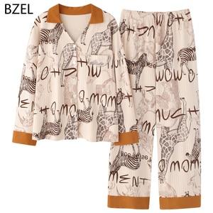 Image 2 - BZEL 2020 Freizeit Baumwolle Nachtwäsche Schlafanzug Frauen Kleidung Langarm Tops Set Damen Pijama Sets Nacht Anzug Hause Tragen Große größe