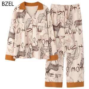 Image 2 - Bzel 2020 Leisure Katoen Nachtkleding Pyjama Vrouwen Kleding Lange Mouw Tops Set Dames Pijama Sets Night Pak Thuis Dragen Grote size