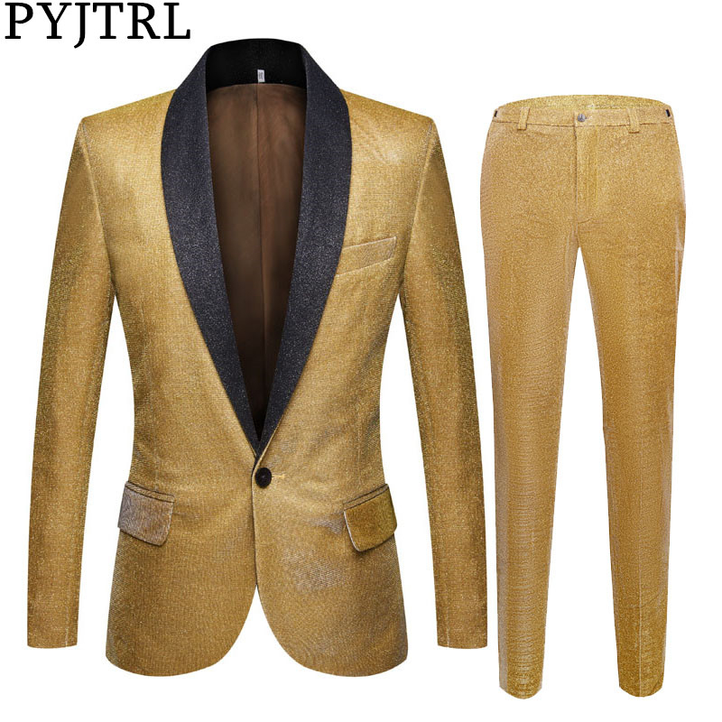 PYJTRL Mens Shiny Gold Purple 2 Pieces Set Suits Latest Coat Pant Designs Wedding Suits Tuxedos Party Prom Singers Clothing