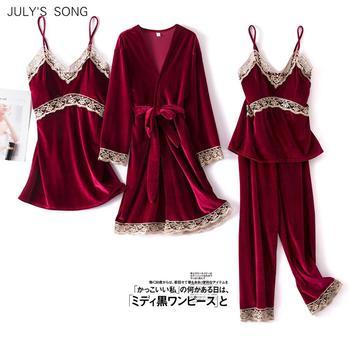 JULY'S SONG Fashion Velvet 4 Pieces Warm Winter Pajamas Sets Women Sexy Lace Robe Pajama Sleepwear Suit Sleeveless Nightwear 1