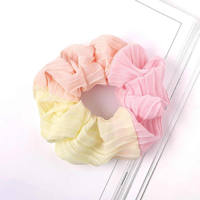 달콤한 빈티지 대형 3 색 쉬폰 머리 Scrunchie ElasticHair 밴드 로프 린 g 타이 고무 밴드 Scrunchy 헤어 액세서리