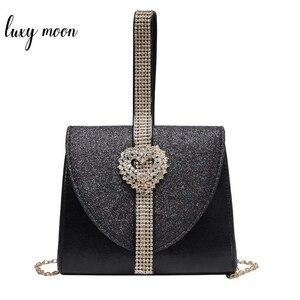 Image 1 - Luxy Mond Frauen Leder Handtasche Luxus Diamant Kupplung Geldbörse für Braut Partei Schulter Tasche mit Herz Kristall Dekoration ZD1490