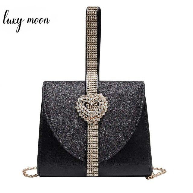 Luxy Mond Frauen Leder Handtasche Luxus Diamant Kupplung Geldbörse für Braut Partei Schulter Tasche mit Herz Kristall Dekoration ZD1490
