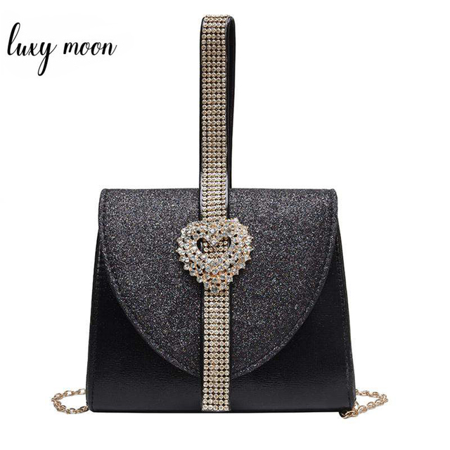 Luxy Moon Women Leather Handbag Luxury Diamond Clutch Purse for Bridal Party Shoulder Bag with Heart Crystal Decoration ZD1490