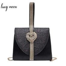 Luxy ムーン女性革ハンドバッグ高級ダイヤモンドクラッチ財布ブライダルパーティーショルダーバッグハートのクリスタル装飾 ZD1490