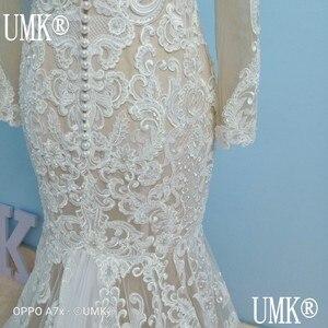 Image 5 - UMK Long Sleeve Mermaid Wedding Dress 2020 Chic Lace Boho Wedding Gowns Pearl sequins See Through Sexy Vestido De Noiva