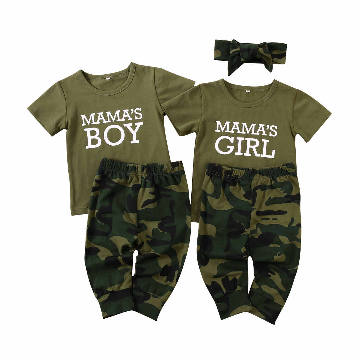 Newborn Toddler Baby Boy Girl Summer Short Sleeve Letter Print Outfits T-shirt Pants Camouflage Outfit