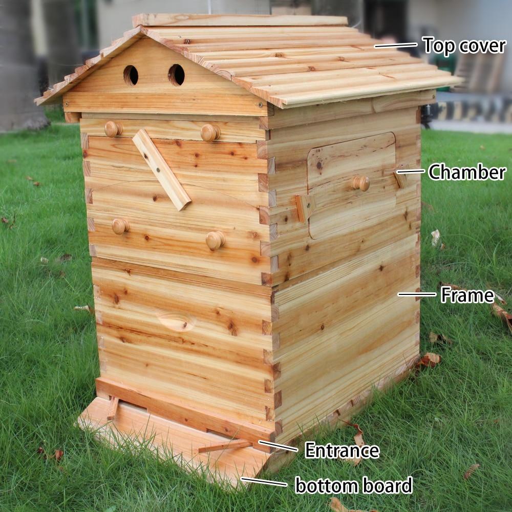 Automatic Beekeeping Box House Wooden Bee Hive House Beekeeping Equipment Beekeeper Tool Smart Wooden Hives Frames Kit Bee Tools