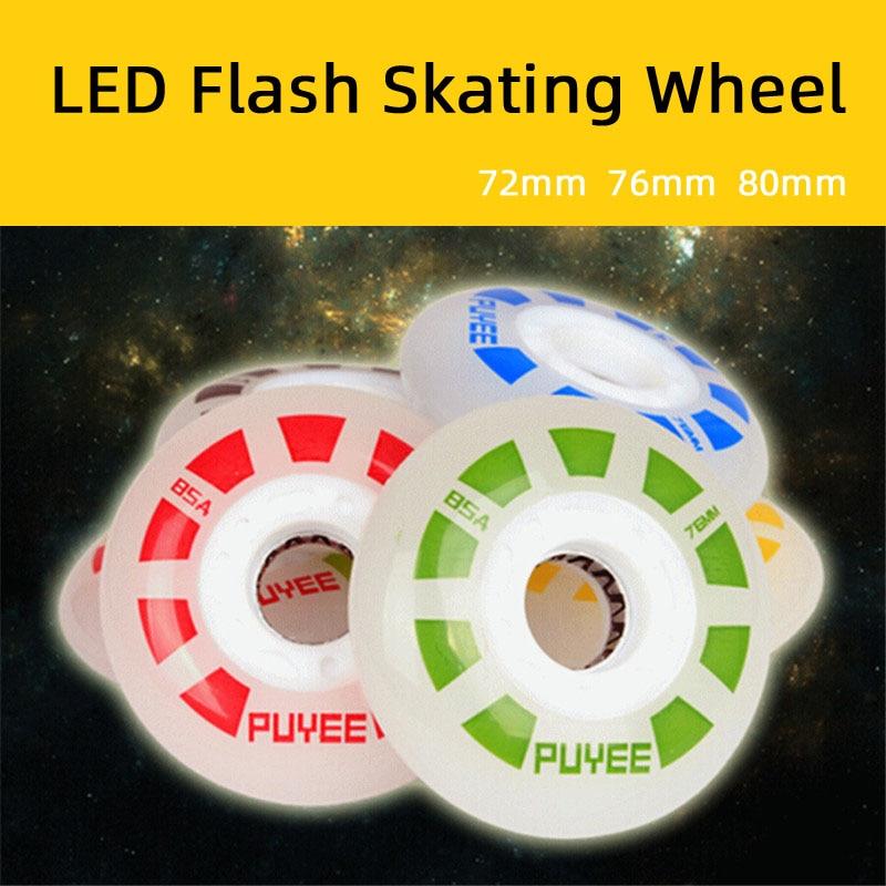 [72mm 76mm 80mm] Original PUYEE LED Flash Roller Skate Wheel 85A Slide Drift Braking Inline Skate Wheel For SEBA PowerSlide RB