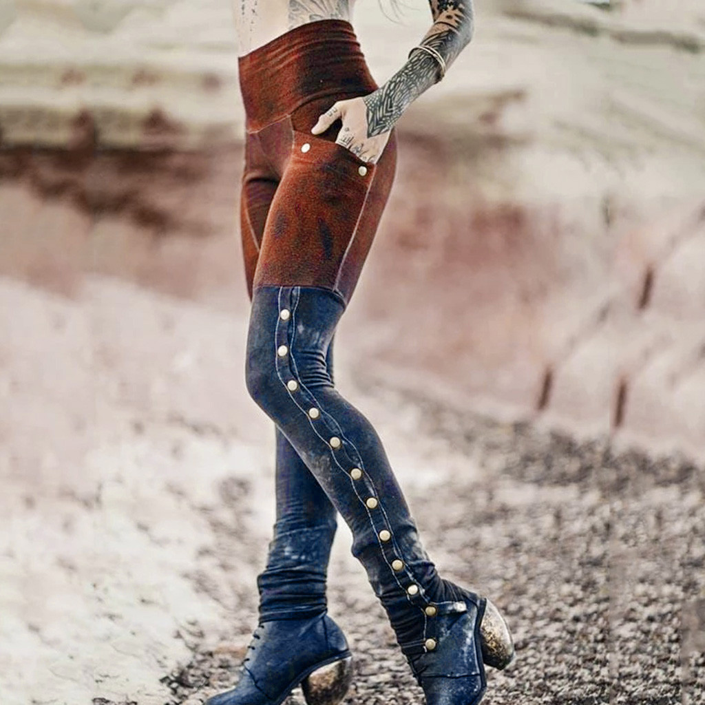 New 2020 Fashion High Waist Patchwork Contrast Color Jeans Pencil Denim Pants Women Heavy Rivets Long Jeans#Z30