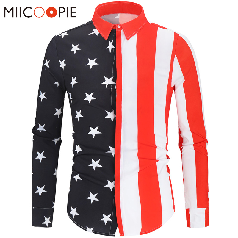 Patchwork American Flag Printed Casual Shirt Men Business Long Sleeve Camisa Social Masculina Slim Fit Mens Shirts Dress Blouses