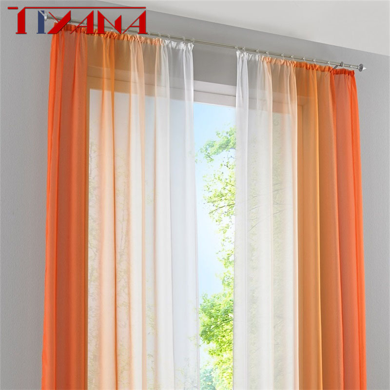 2 Panel Finished Curtain Orange Gradient Tulle Curtain For Living Room Bedroom Kitchen Short Curtain Coffee Curtain  D002#4