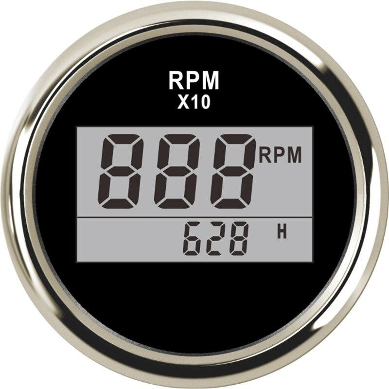 Universal 52mm Digital Tachometer Auto Tachometer Waterproof RPM Meter LCD Digital red light 0-9990 RPM 12 V 24 V