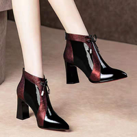Women's Booties High Heeled Ankle Boots 2019 Winter boots Warm Shoes Plush Inner Pointed toe Thick Heel Wine Red Blue
