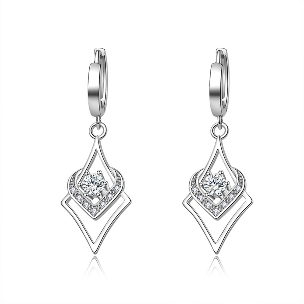 925 Sterling Silver Earrings Drop Geometric Shape Zircon Christmas Gift Micro Inlay Cubic Zirconia Earrings For Women 2019 Black