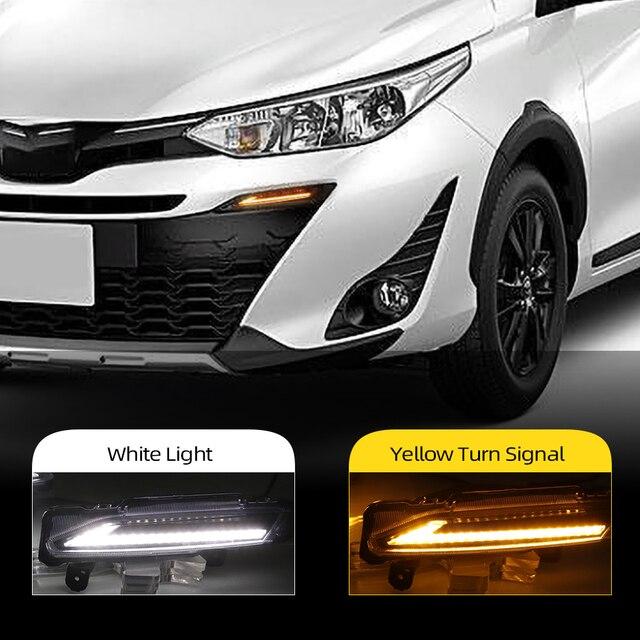 Reflektory samochodowe 2 sztuk DLR dla Toyota Yaris 2017 2018 2019 LED samochodów światła do jazdy dziennej światło dzienne jazdy żółty włącz światła przeciwmgielne