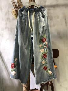 Long-Pants Trousers Flower Denim Jeans Wide-Leg Women Embroidery Elastic-Waist New Tassel