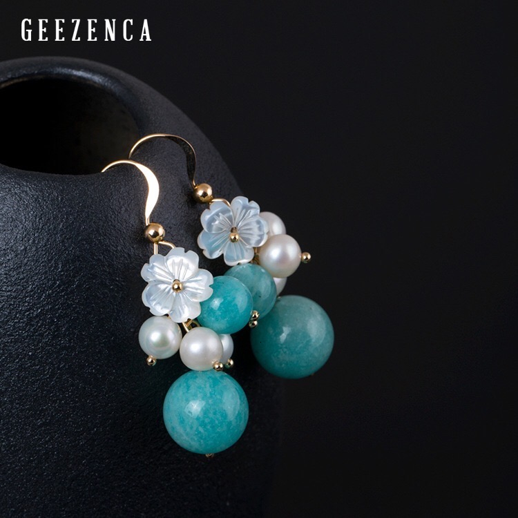 925 Sterling Silver Gold Plated Amazonite Pearl Shell Drop Earring Original Design DIY Blue Stone Pearls Flowers Earrings Women
