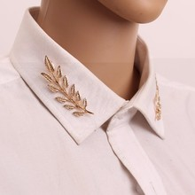 Gariton New badge Wedding Jewelry Suit shirt Collar Pin Plated Gold/Silver Leaves Brooches Pins For Women