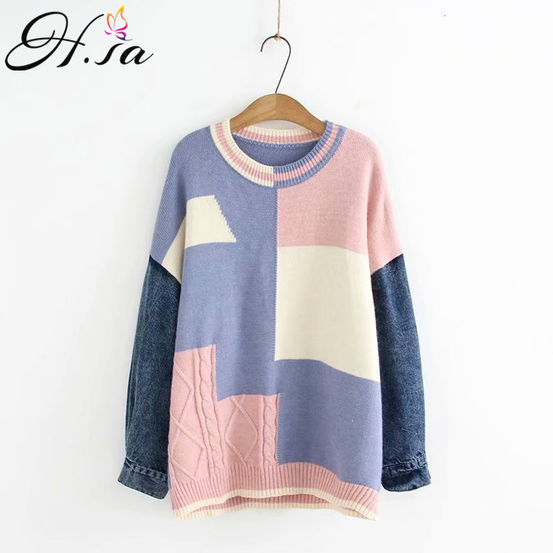 H.SA Sueter Mujer Invierno 2019 Oneck Patchwork Knit Sweater Jumpers Oversized Korean Jeans Sweater Robe Pull Casaco Feminino