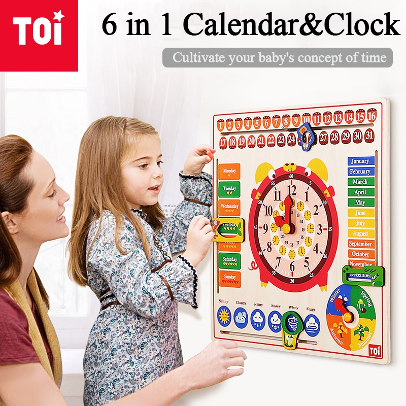 TOI Calendar Clock Puzzle Board Children Educational Toys English Early Education Cognition for Kindergartens 2-3Y