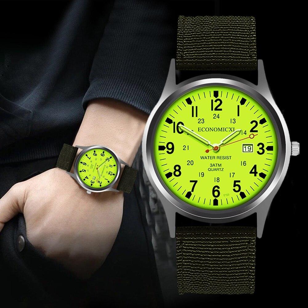 Luxury Top Brand Waterproof Watches Men's Nylon Date Quartz Watch Analog Quartz Wrist Watches Gift Clock Relogio Masculino