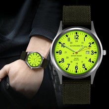 Luxury Top Brand Waterproof Watches Men's Nylon Date Quartz Watch