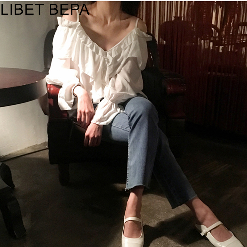 New 2020 Spring Summer Women's Blouse V-Neck Casual Fashionable Sexy Off Shoulder Shirt Lace Up Lantern Sleeve Lady Tops BL123