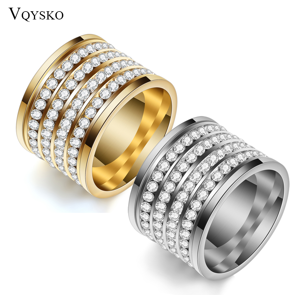 Fashion shining full 4 Row Crystal rhinestone Jewelry Ring Gold Stainless Steel Couple Wedding rings for men and Women 1
