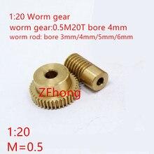 0.5 Modulus 20 Teeth Brass Worm Gear Wheel & 4mm Hole Dia Worm Gear