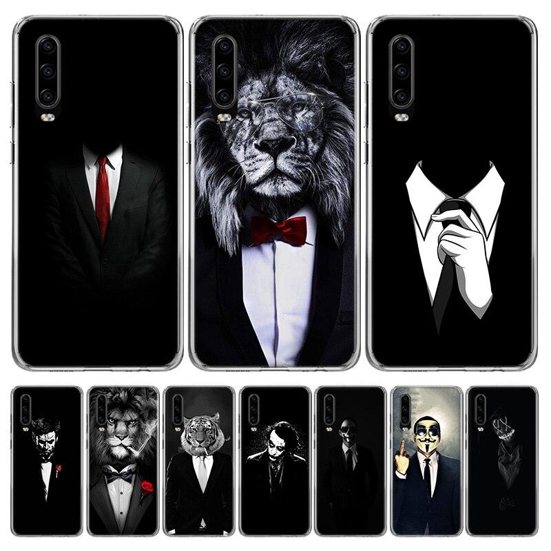 Мужской костюм рубашка галстук чехол для телефона Huawei P30 P40 P20 P10 Mate 20 10 30 Lite Pro P Smart Z Plus + искусство Роскошный чехол Coque