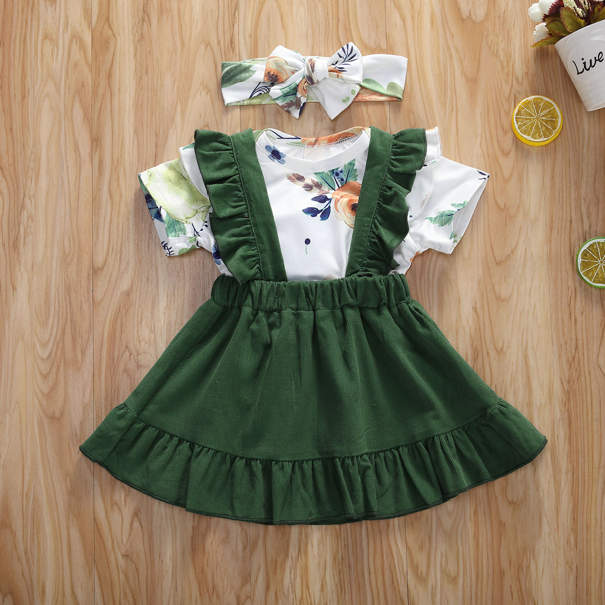 Pudcoco Newborn Baby Girl Clothes Flower Print Short Sleeve Romper Tops Ruffle Strap Skirt Headband 3Pcs Outfits Sunsuit Set