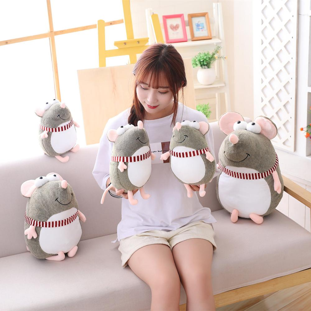 New lovely fat grey big eyes rat Pillow Stuffed Animal Plush Toys for Girls Children Boys Toys cute mouse Doll Birthday Gift(China)