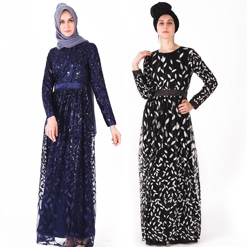 Мусульманское Новое Женское платье с длинными рукавами платье Модный чехол для телефона листья блесток дамы длиной до щиколотки юбки
