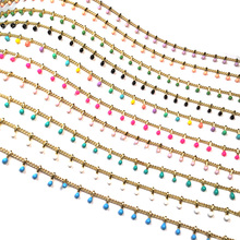 Online store 2021 New Fashion Gold Wire Wrapped Rosary Chains Stone Beads Chain for Making DIY Bracelet Necklace Anklet Findings 1 Meter Gift