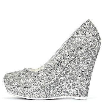 YECHNE Silver Golden women High heels Women's shoes Wedding shoes Pumps Plus Size Fashion Sexy Wiggen Pumps 2020