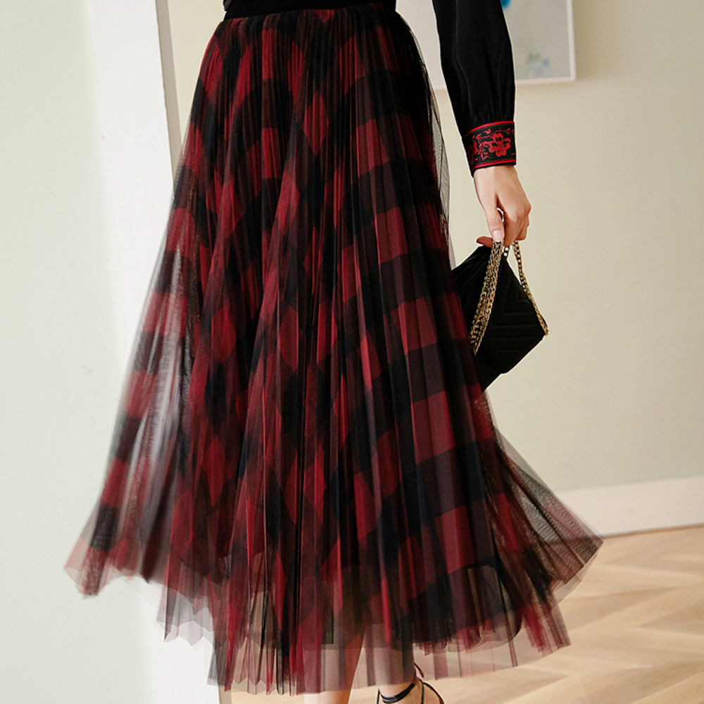 Spring Autumn Women Vintage Mesh Patchwork Long Skirts High Waist Plaid Harajuku Tulle A-Line Mid-Calf Skirts Ladies Green Red