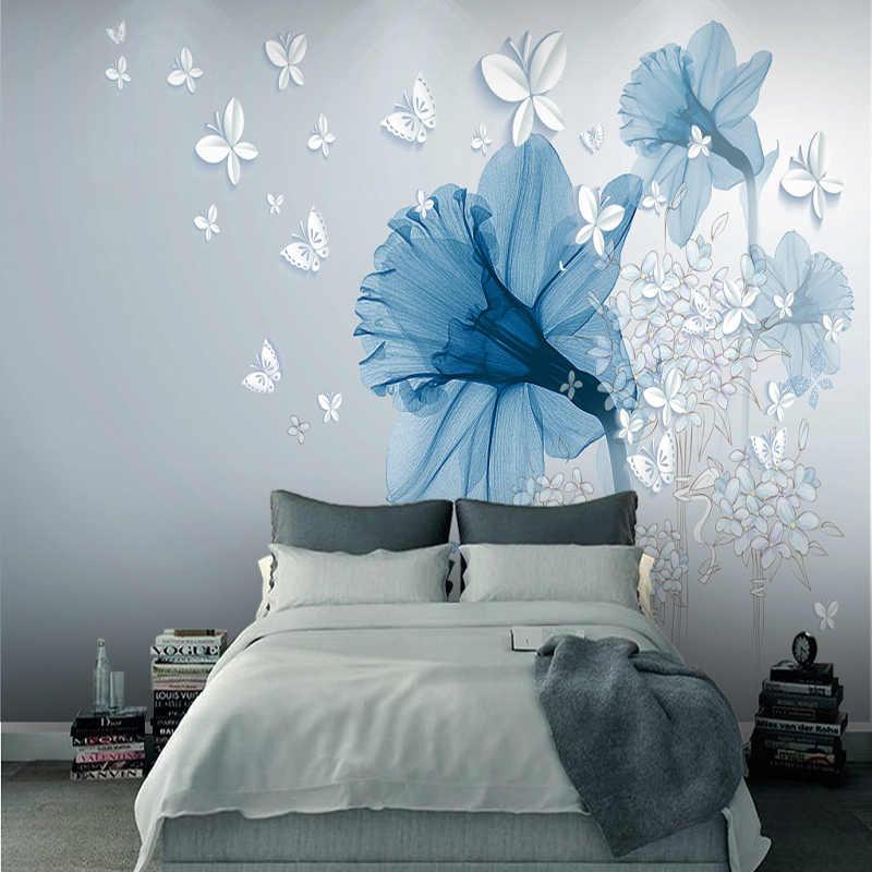 Hand Painted Jane Kertas Biru Estetika Seni Bunga Latar Belakang Wallpaper Dinding Kain Kamar Tidur Lukisan.jpg q50