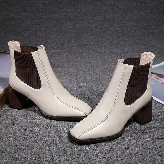 2020 botas de Chelsea para mujer, botas de tacón alto cuadradas para mujer, botas de mujer, zapatos de tejido elástico, zapatos casuales para mujer 3