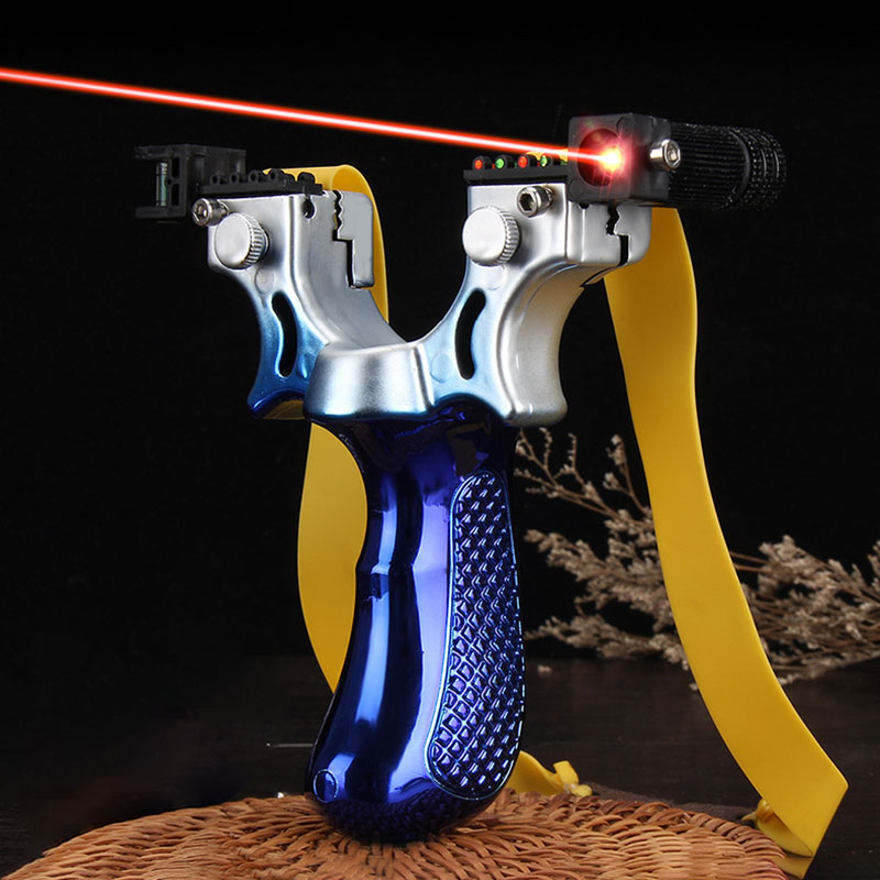 Big Power High Precision Gradient Color Slingshot Laser Aiming Slingshot Using Flat Rubber Band Outdoor Hunting 2019 New