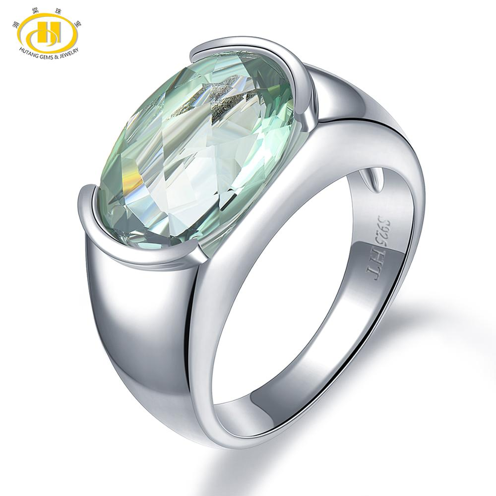 Hutang Women's Ring 6.30ct Natural Green Amethyst Wedding Rings 925 Sterling Silver Gemstone Fine Elegant Classic Jewelry Gift