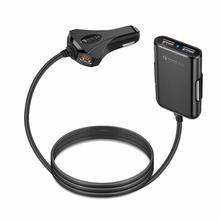 Front / Back Seat 4 Port USB Quick Charge  Car Charger For iPhone Huawei 12A 12V Fast Phone Xiaomi Samsung