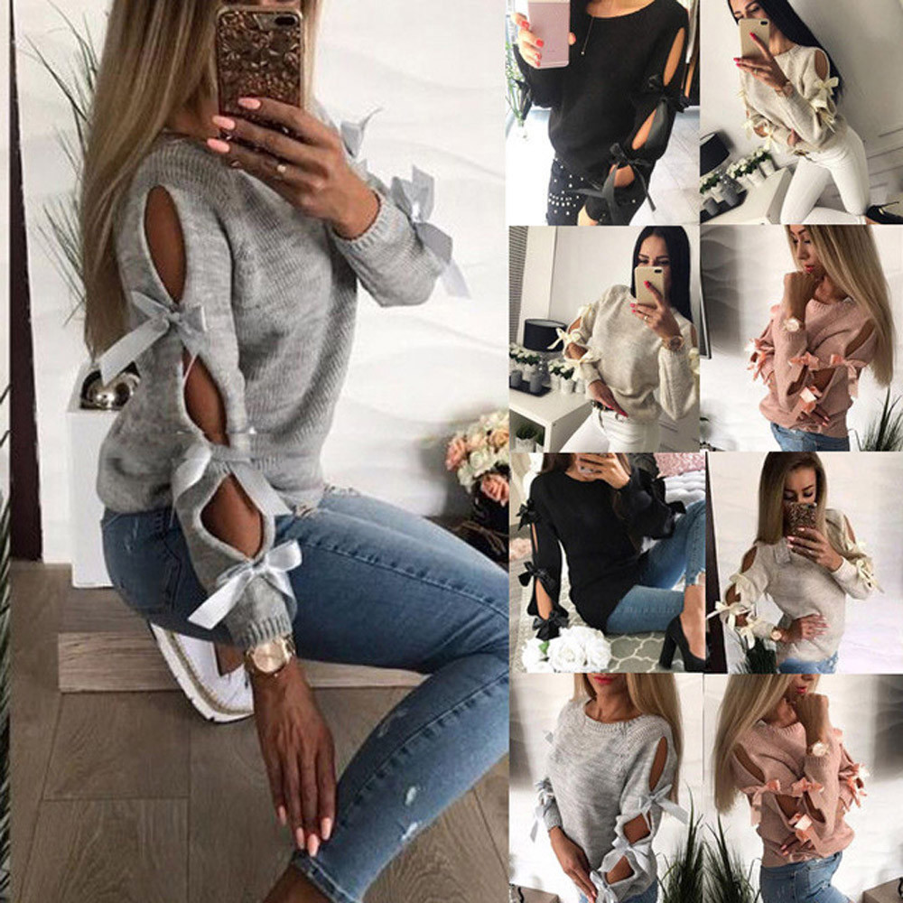 2019 Sweater Women Casual Solid Bow Tie Pullover Loose Sweater Jumper Tops Knitwear Sueter Mujer Invierno Pull Femme Pullover 1