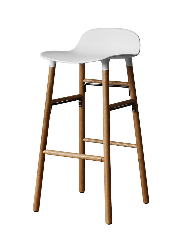 Nordic Denmark Small Apartment Multifunctional Bar Chair Senior Gray Bar Chair Bar Stool Solid Wood Legs Plastic Stool Chair
